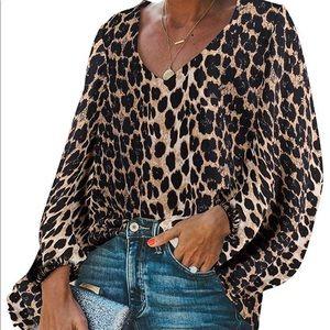 BELONGSCI NWOT Long sleeve animal print blouse